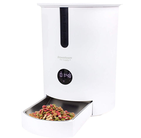 Automatic Dog Pet Cat Feeder 6 Meal Food Dispenser with Stainless Steel Bowl and 8 Portion Sizes. Features 7 Feeding Schedules, Portion Control, Voice Recording, and Washable Tray
