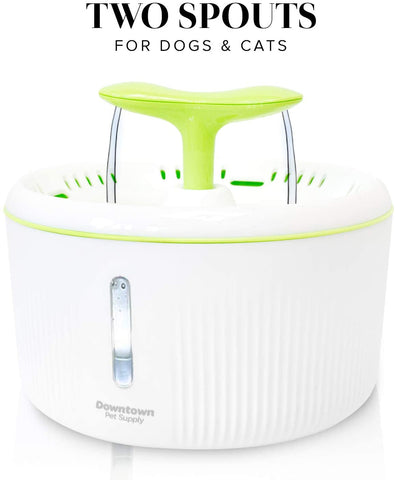 Dog Cat Automatic Pet Drinking Fountain, Ultra Quiet Water Dispenser Dual Nozzle Options with Filter Included for Cats and Dogs