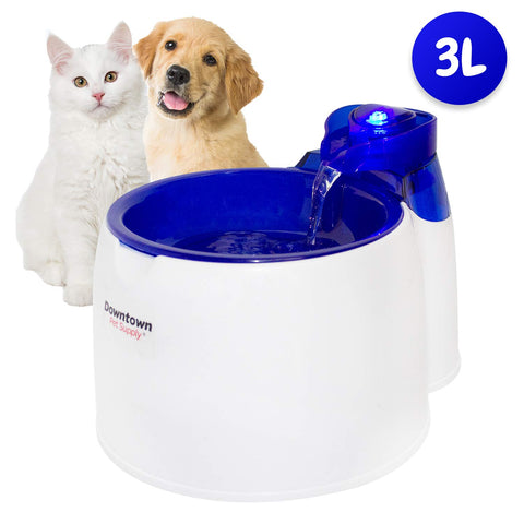 Pet Water Fountain (3 Liter) - Low Noise with LED Light, 6 Month Replaceable Filter Included, Easy to Use and Clean
