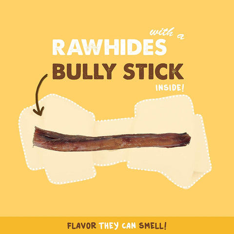 All Natural Bully Rawhide Retriever Knots Bone with Hidden Bully Stick Inside - 4-5 Inch Long-Lasting Chew - Two Dog Treats in One (5 Pack, 10 Pack)
