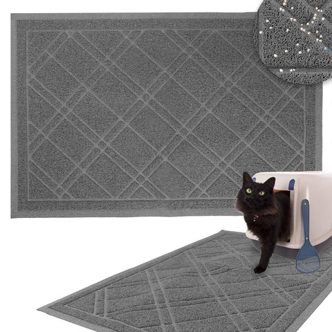 Non-Slip Padded Mesh Kitty Litter Mat Trapping Tray for Cats and Kittens in Grey with Small, Medium, Large Sizes