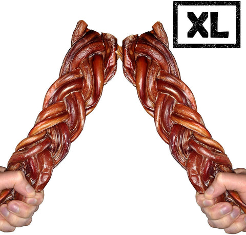 Monster Braided Bully Sticks for Dogs - Made in USA, Low Odor Dental Chew Treats