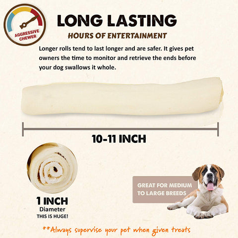 All Natural Bulk Rawhide Retriever Rolls Chew Treats, Long Lasting, Large Thick Cut Beef Rawhide (Available in 5-6, 7-8, 9-10, and 10-11 inch Rolls)
