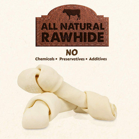 All Natural Bulk Rawhide Retriever Knots Chew Treats, Long Lasting, Large Thick Cut Beef Rawhide (Available in 3-4, 4-5, 5-6, 7-8 and 9-10 inch Rolls)