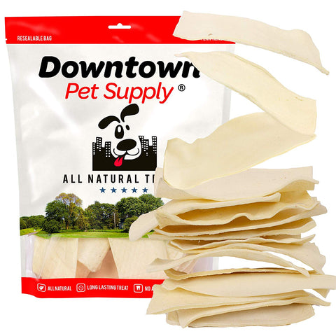 "All Natural Rawhide Bulk Chew Treats, Long Lasting, Large Thick Cut Beef Rawhide Chips (3"" x 7"" in) (Bulk Value Sizes: 1/2 LB, 1 LB, 3 LB, 5 LB, 10 LB)"