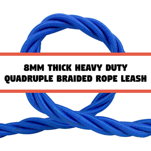Heavy Duty Braided Bungee Leash with 5 Foot Durable Shock Absorbing Design and Padded Handle Black & Orange or Red & Blue in 6 MM and 8 MM by Downtown Pet Supply