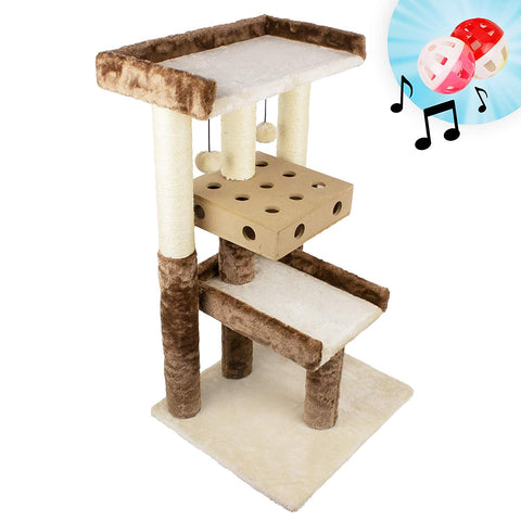 Deluxe Interactive Cat Scratching Sisal Posts Tree and Exerciser for Kitty, Interactive Cat Toys (Regular, Premium, Giant, Tall 4-Level Scratch Post)