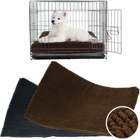 My Doggy Place - Ultra Absorbent Tough Thick Microfiber Chenille Dog Pet Crate Padded Mats for Pets Kennel Pad (Charcoal, Brown) (Sizes: 35x22, 41x27, 47x29)