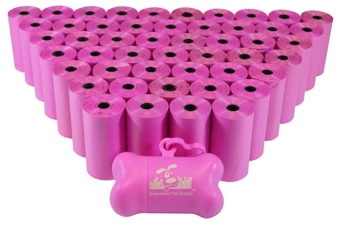 Pink - Pet Waste Poop Bags + FREE Dispenser