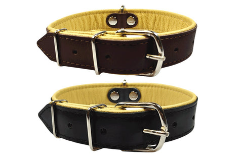 Wide Genuine Leather Dog Collar, Handmade