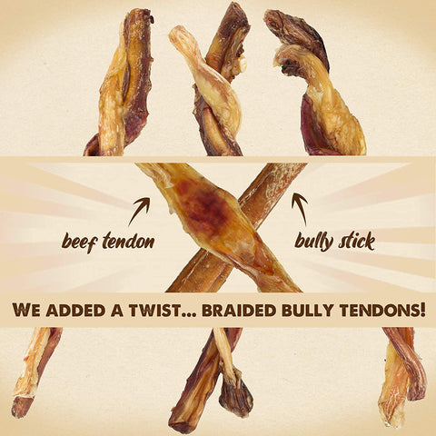 All Natural USA Grass-Fed Beef Jerky Tendon Bully Stick Twist, Thick Long Lasting Dental Easily Digestible Aggressive Chewers Braided Chew Treat for Dog