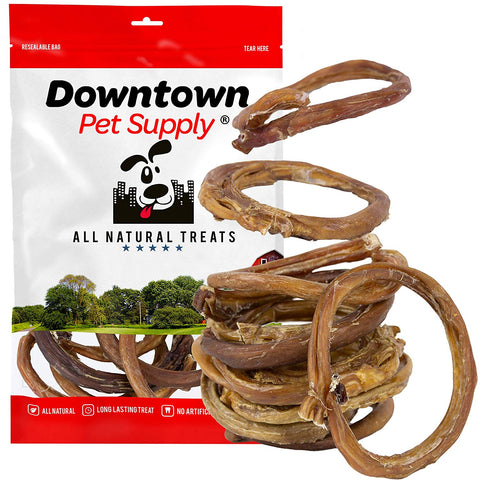 All Natural Bully Stick Rings Value Packs - Healthy Grain Free Grass Fed Beef Dog Dental Chew Treat (6 Pack, 12 Pack, 24 Pack)