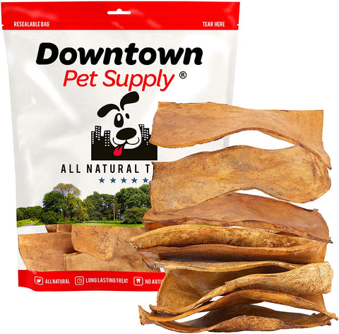 "All Natural BBQ Rawhide Bulk Chew Treats, Long Lasting, Large Thick Cut Beef Rawhide Chips (3"" x 7"" in, 3 LB)"