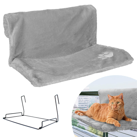 Strong Hanging Cat Hammock - Plush Pet Shelf - Folds Easily for Travel - Hang Anywhere