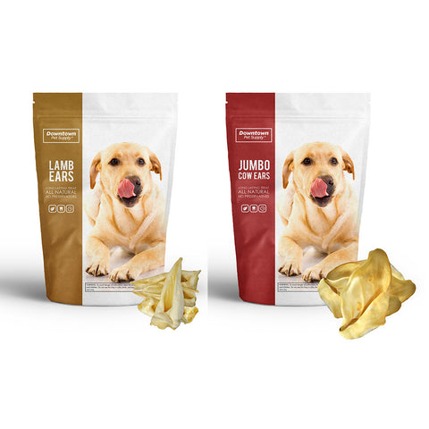 Natural Jumbo Cow Ears & Lamb Ears for Dogs (Value Pack)