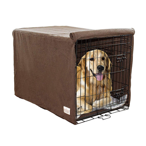 Ultra Absorbent Microfiber Chenille Dog Crate Padded Covers for Pets, Premium, Durable, Washable Kennel Protector Privacy Shield (Brown and Charcoal) (Small, Medium, Large)