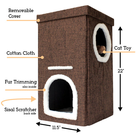Collapsible 2-Level Plush Kitty Cube House, Stylish Cat Condo