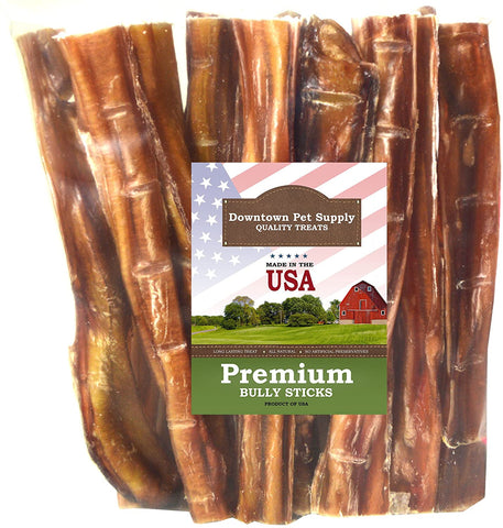 6 and 12 inch American USA Bully Sticks for Dogs (Bulk Bags by Weight) Made in USA - Odorless All Natural Dog Dental Chew Treats, High in Protein, Great Alternative to Rawhides