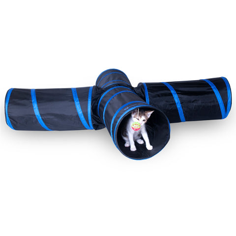 New Cat tunnel Design, Collapsible 4-way Cat Tunnel Toy with Crinkle