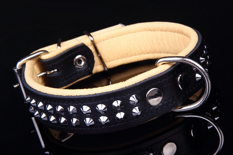 Handmade Genuine Leather Studded Dog Collar, Heavy Duty Nickel Hardware