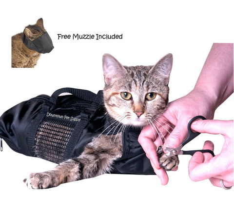 Cat Grooming Bag-FREE Cat Muzzle Included - Small, Medium, Large