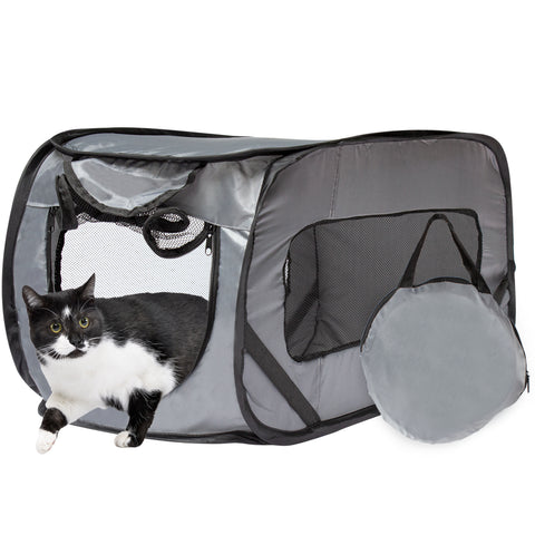 Foldable Travel Kennel Cat Tent Enclosure for Pets with Carry Case, Perfect as Collapsible playpen, Carrier, or Crate