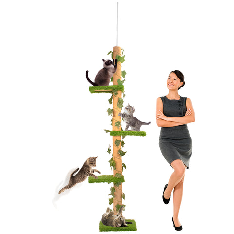 Tall Cat Activity Tree with 4 Levels and Sisal Scratcing Posts with Securing Mechanism
