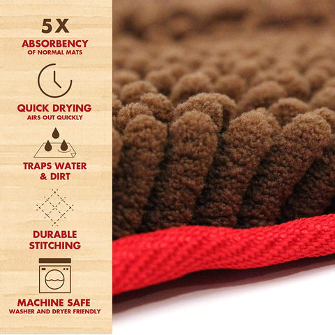 Quick Dry Shammy Towel - Ultra Absorbent Microfiber Chenille Dog Towel with Hand Pockets