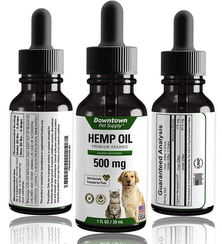 Hemp Oil Calming Supplement for Dogs and Cats - 100% Organic