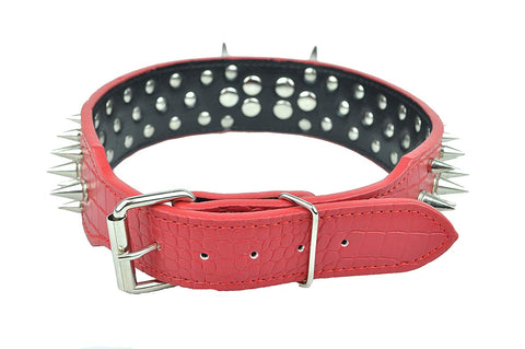"2"" Wide Large Premium Leather Spiked Dog Collar"