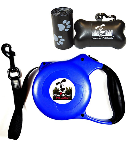 Retractable Dog Leash, 16.5 feet with FREE Roll of 20 Pet Waste Bags and Bone Dispenser