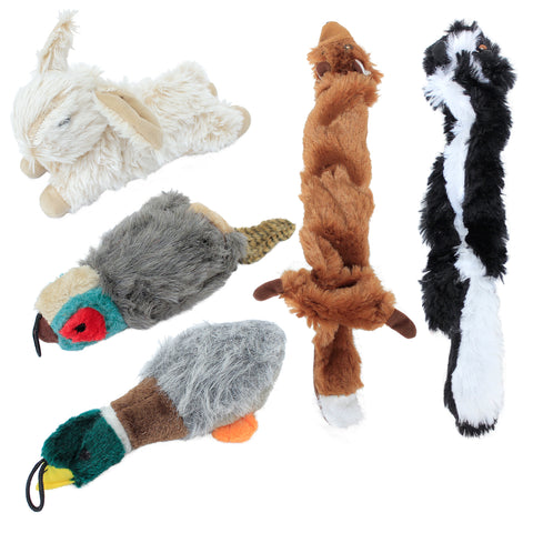 Stuffed Dog Toy Gift Big Bundle 5-Pack with Duck, Rabbit, Pheasant, Fox, Racoon - Plush and Durable for Small, Medium, and Large Dogs