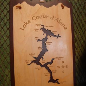 Wooden Inlay Lake Sign