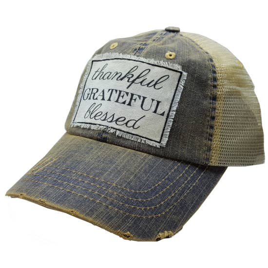 Thankful Grateful Blessed Distressed Trucker Hat