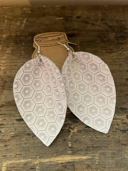 Cream Honeycomb Textured Leather Earrings