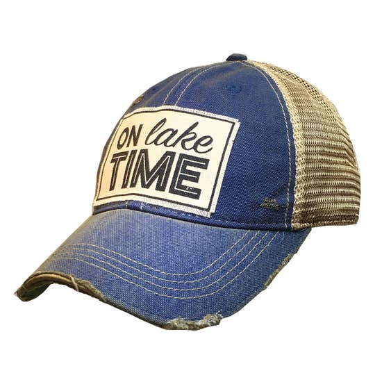 On Lake Time Distressed Trucker Hat