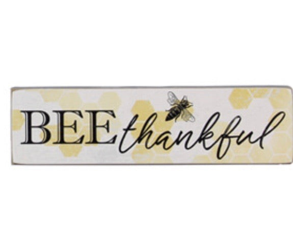 Wood Bee Mini Block Sign
