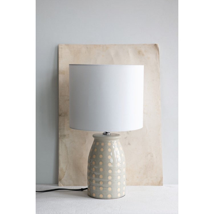 Stoneware Table Lamp with Fabric Shade