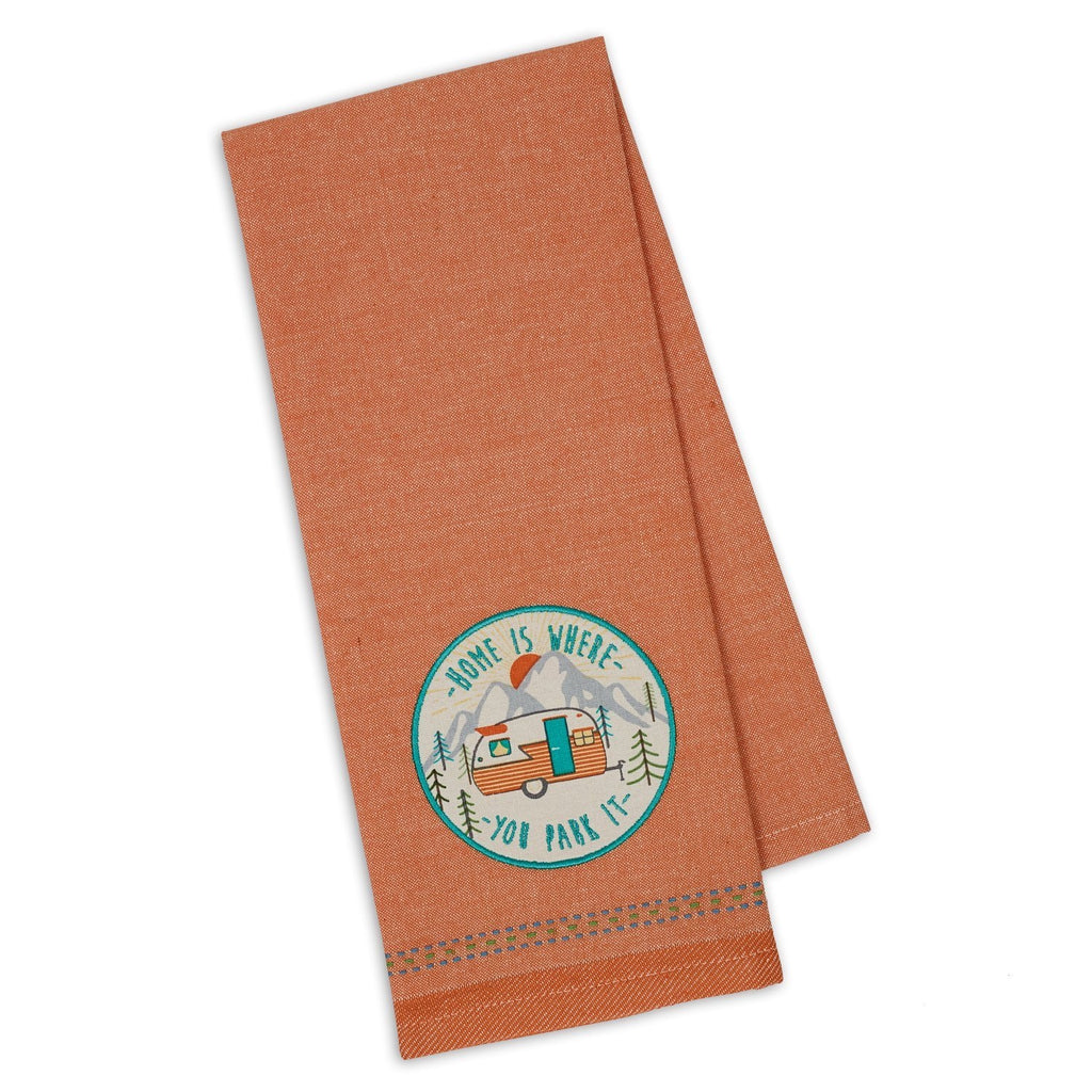 Home is Where We Park It Embellished Dishtowel