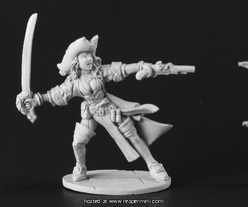 Miniature: Metal | Female Pirate Captain Pewter