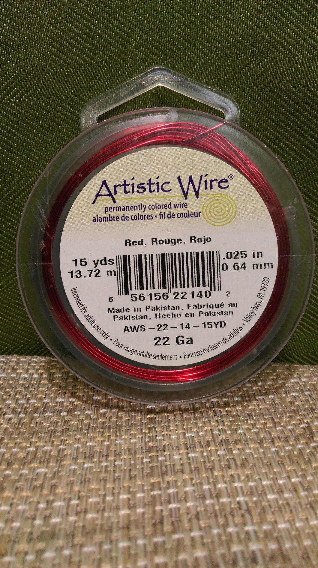 Wire Art Wrap 22ga 15yds Red
