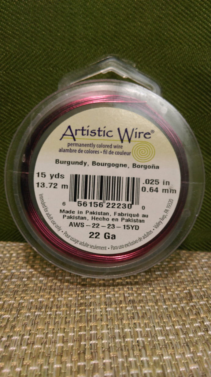 Wire Art Wrap 22ga 15yds Burgnd
