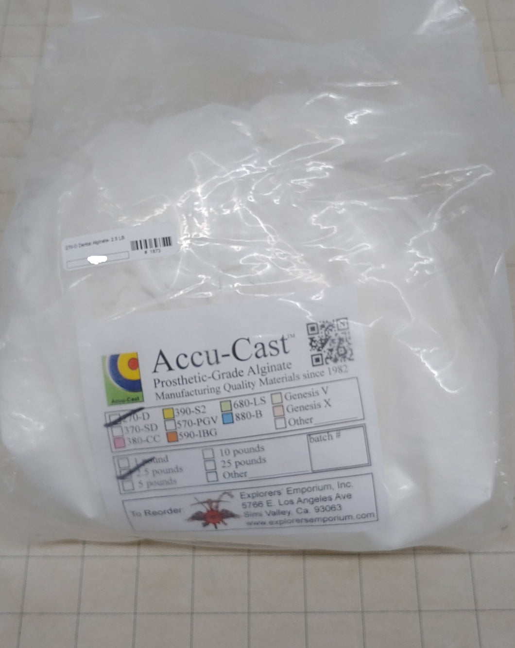 270-D Dental Alginate- 2.5 LB