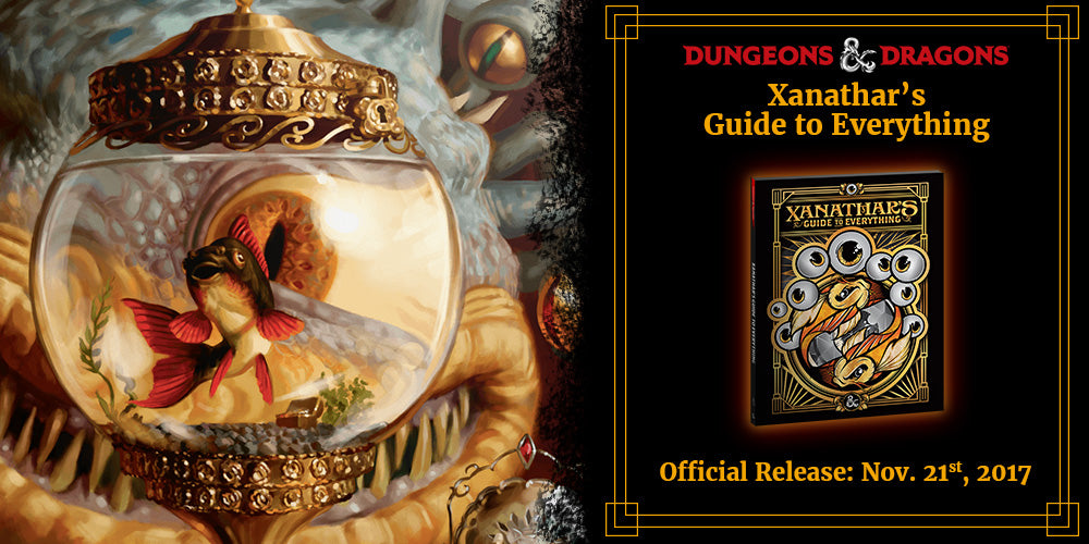 Ad for Xanathar's Guide Release. Link to event calendar.