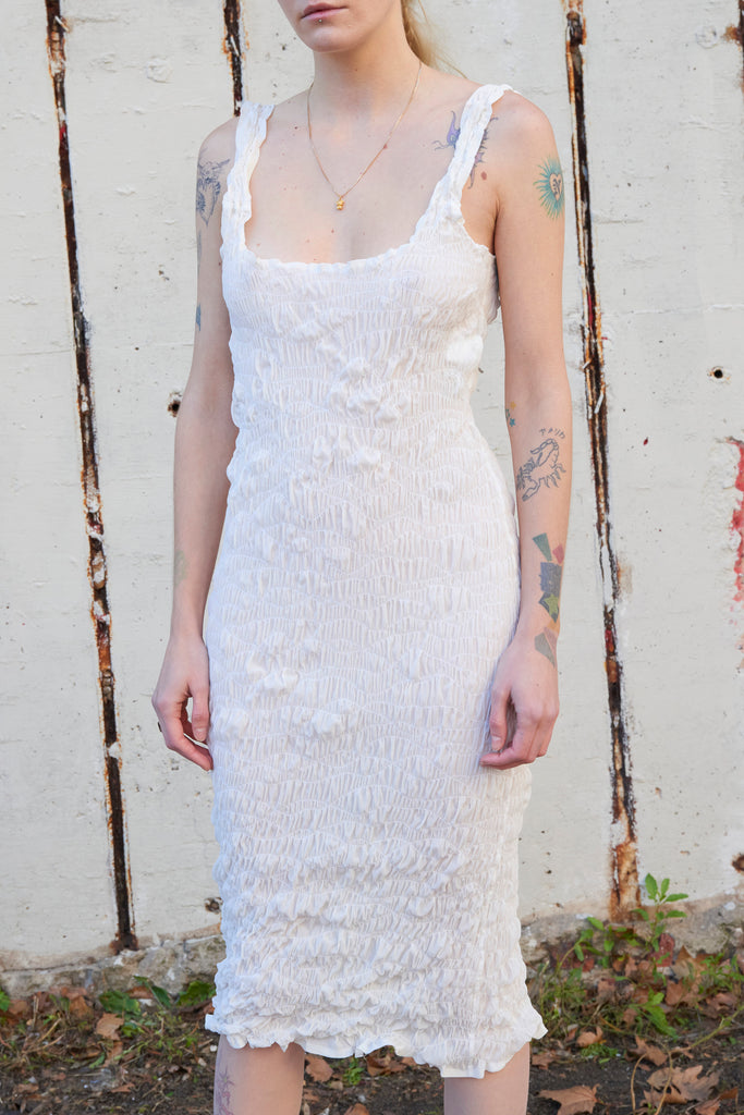 White Elasticated Dress