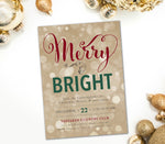 Holiday Merry & Bright Invitation, Red, Green & Gold