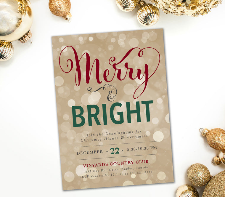 Holiday Merry & Bright Invitation, Red, Green and Gold Bokeh