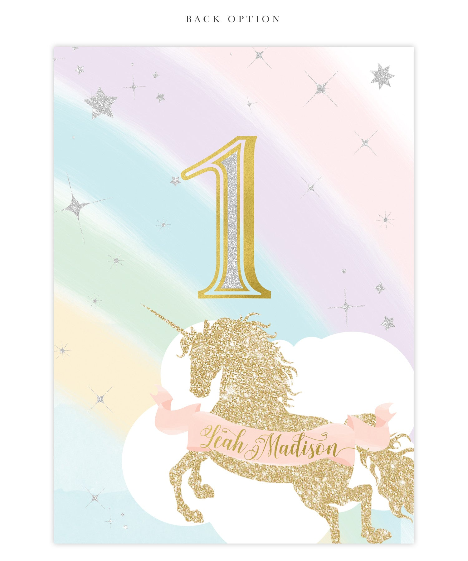 Unicorn 1st Birthday Invitation Girls Unicorn First Birthday Party Invite
