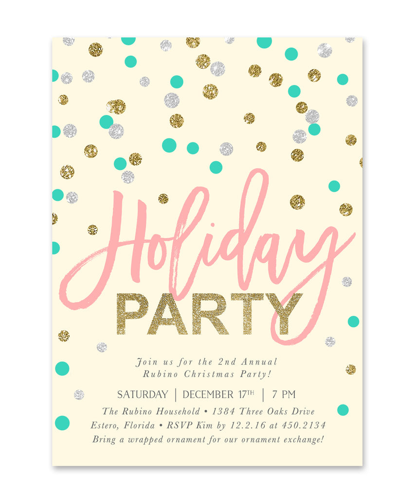 Confetti: Holiday Party Invitation Turqoise, Silver, Gold & Pink