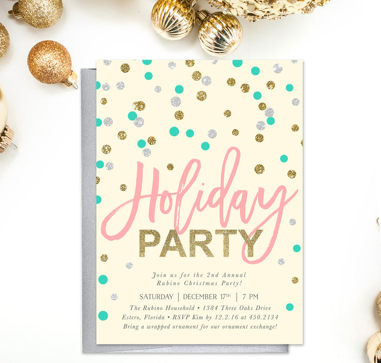 Holiday Party Invitations Sea Paper Designs